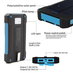 zhuotop dual usb led light solar charger external battery power bank with compass + hook + usb charging cable blue Solar Panel Charger, Iphone Headphones, Iphone Charger, Charging Cable, Landscaping Software, Landscaping Ideas, Backyard Landscaping, Lighting Cable, Apple Iphone