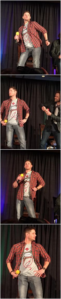 "'Jensen models Misha's ""Random Acts"" shirt! BLESS THIS MOMENT #sfcon'"