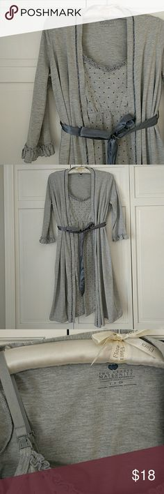 Destination Maternity Nursing Gown and Robe Very good used condition. Nursing robe has dark grey polka dots and nursing claps. Robe has interior tie closure and silky dark grey outer tie. Super comfy and perfect for hospital and first few months at home! Motherhood Maternity Intimates & Sleepwear