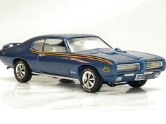 1969 Pontiac GTO Judge BLUE 7 Ertl 1:18 Scale Model DieCast Metal Muscle Car NEW