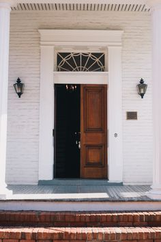 maybe slightly narrower trim though) love the vintage charm of the wood, like the paneling style of wood too; would prefer transom with single beveled pane, no grid/muntin/pattern) Transom Windows, Windows And Doors, Front Doors, The Door Is Open, Door Entryway, French Country Cottage, Grand Entrance, Historic Homes, Architecture Details