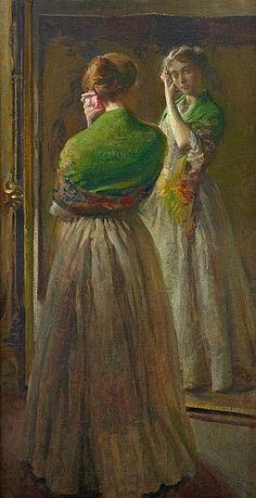Joseph Rodefer DeCamp , Girl with Green Shawl 1900