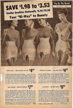 montgomery ward summer 1959 catalog by CapricornOneVintage, Classic Lingerie, Retro Lingerie, Women Lingerie, Vintage Girdle, Vintage Underwear, Fashion Marketing, Fashion Advertising, Vintage Advertisements, Vintage Ads