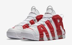 designer fashion dce91 f3bcd Nike Air More Uptempo White Varsity Red. The Nike Air More Uptempo Varsity  Red comes is known as Chicago Bulls Home and releases Spring
