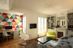 architecture modern apartment1 Colorful Apartment Design in the Chic 7th District of Paris