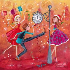 New Year Wishes Painting by Caroline Bonne-Muller - New Year Wishes Fine Art Prints and Posters for Sale