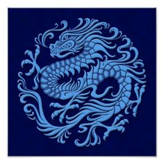 Traditional Blue Chinese Dragon Circle Poster