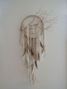❁~Atrapa Sueños ~❤ Modern Dreamcatcher wall art/mobile dream catcher by lovecAkeNYC, Los Dreamcatchers, Diy And Crafts, Arts And Crafts, Deco Nature, Deco Boheme, Ideias Diy, Art Mural, Nature Crafts, Crafty Craft
