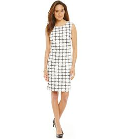 Shift windowpane print dress/ everyday dress/ office chic/ work wear style/ desk to dinner fashion/ fabulous at every age/