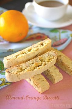 Almond-Orange Biscotti are delicious and dunkable #cookies #biscotti