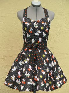 The Pumpkin Patch- Halloween Apron - with a hint of black with orange dots-. Description from pinterest.com. I searched for this on bing.com/images