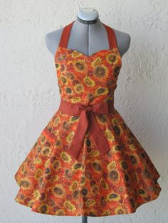 Sunflowers Tuscan Apron Full of Twirl Flounce by ApronsByVittoria, $32.95