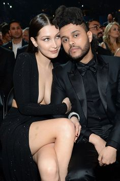 Bella Hadid clutched tightly to her Grammy-winning boyfriend, The Weeknd, during the ceremony. It was the first time that the pair have made a red-carpet appearance together. Beaux Couples, Cute Couples, Abel And Bella, Bella Gigi Hadid, Gigi Hadidi, Abel The Weeknd, Kate Middleton Dress, Hot Brunette, Celebrity Couples