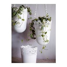 $4.99 hanging planters from Ikea (could be painted, also there are other cheap pots on Ikea)