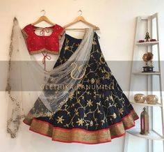 She is my favourite new designer. Geethika Kanumilli in one word, is every brides dream designer. Check out her latest spring summer collection here. Half Saree Designs, Lehenga Designs, Blouse Designs, Indian Wedding Outfits, Indian Outfits, Indian Clothes, Indian Attire, Indian Wear, Simple Lehenga