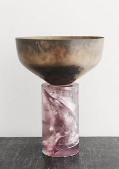VINCENZO DE COTIIS VASE IN OXIDIZED SILVER AND RESIN