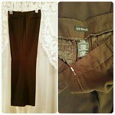 "EUC Dark Brown Stretch Dress Slacks Dark brown stretch dress slacks with back button pockets and one faux front watch pocket. 63% polyester, 32% rayon, 5% spandex. Waist measures 17"" across, rise 11.5"", inseam 32"". EUC! George Pants"