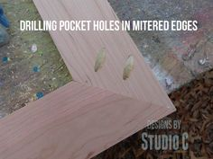 how to drill pocket holes in mitered corners - tutorial from @Cher-Ann Texter - Designs by Studio C