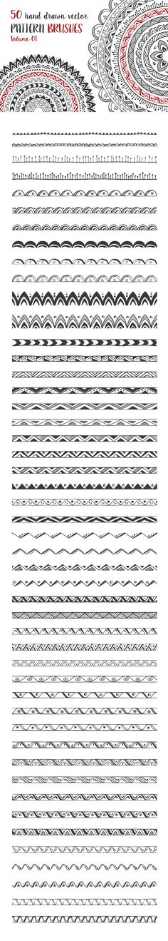 Hand Drawn Pattern Brushes Vol. 01 by DESIGN BY nube #patterns #brushes #vector #boho #tribal #geometric #handdrawn #frames #borders #designelements