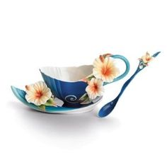 FRANZ PORCELAIN Tropical Beuty Hibiscus CUP, SAUCER, SPOON $165.00