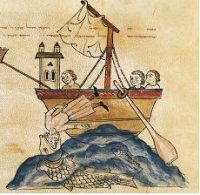The whale swallows Jonah, from the Bible of Joseph Assarfati, Cervera, Spain, 1299, Spain (Getty Images)