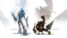 Mr. Freeze and the Penguin- Check out this insanely badass series of art featuring robot character designs for several DC and Marvel comics superheroes. These were created by Justin Currie a.k.a. ChasingArtwork http://geektyrant.com/news/2013/7/9/marvel-and-dc-superheroes-redesigned-as-robots
