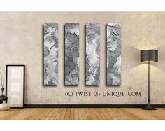 Large abstract painting / CUSTOM 3 set of paintings /48x10