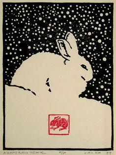 Happy New Year AP/75,   Andrew Valko RCA,  Woodblock (5.5x4 inch) 1999 #rabbit