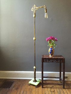 Antique Art Deco floor lamp jadeite and marble by VintaDelphia