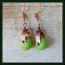 Hammered Copper Lime Green Lampwork Glass Earrings