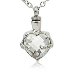 Cremation Ashes, Cremation Urns, Cremation Jewelry, Burial Urns, Sympathy Gifts, Engraved Necklace, Clear Crystal, Pendant Jewelry, Heart Shapes
