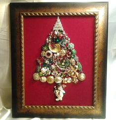 Christmas tree collage art.