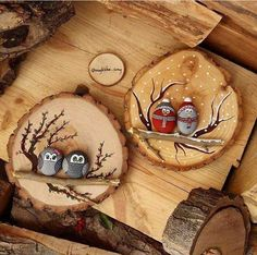 "Cute little stone & wood slice plaques could personalize with the  ""family"" on a branch."