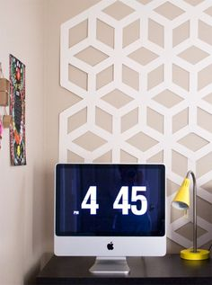 6 Simple DIY Residence Hall Room Ideas - geometric backdrop- no permanent anything required.