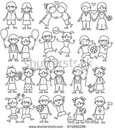 Set of Playing Kids, Friendly Boys, Cute Girls, Joyful Toddlers, Smiling Parents. Sketch Coloring Pages. Art Drawings For Kids, Doodle Drawings, Drawing For Kids, Easy Drawings, Doodle Art, Clipart, Doodle People, Stick Family, Simple Doodles