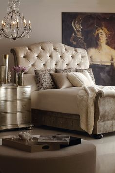 I like the luxurious feel of the headboard and the night stand dresser. ~t.