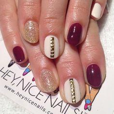 Cream, Plum and Gold nails #gelnails