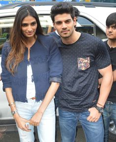 Sooraj Pancholi and Athiya Shetty pose for pictures after arriving at Usha Pravin Gandhi College of Management. #Bollywood #Hero #Fashion #Style #Beauty #Handsome