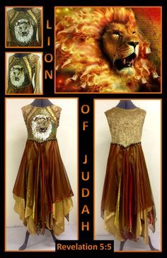"""The Master's Touch Creations Garments & Instruments LLC introduce our overlay called """"LION OF JUDAH"""". This overlay has 8 panels some which provides great flow when worshipping our heavenly Father. The bodice has a gold crushed penne fabric with a triangle sequin insert. The lion sequined applique is centered with black and gold trim. To see more beautiful praise garment and instruments visit our website at: www.themasterstouchcreations.com"""