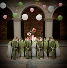 Image detail for -Pink & Green Wedding Inspiration Lime Green Weddings, Pink Green Wedding, Pink And Green, Pink Weddings, Pink White, Purple, White Lanterns, Paper Lanterns, Our Wedding