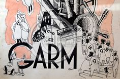BRUSSELS - BELGIUM - 17 MARCH 2010 -- Belgium Comic Strip Center -- Exhibition of Tove Jansson's Dreamworld - Moomintrolls and other work. Detail of the early cover with cartoons in the 1930s for the satirical magazine Garm, in which prototypes of her Moomintrolls often lurk. -- PHOTO: Juha ROININEN / EUP-IMAGES Tove Jansson, Brussels Belgium, Satire, Comic Strips, 1930s, Cartoons, March, Magazine, Comics