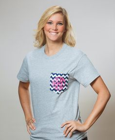 KKG chevron pocket t-shirt with Greek circle font.  www.sassysorority.com