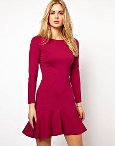 Closet Long Sleeve Dress with Frill Hem