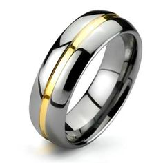 Two Tone Mens Tungsten Gold Groove Inset Wedding Band Ring 8mm