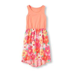 Girls Sleeveless Floral Hi-Low Dress - Pink - The Children's Place