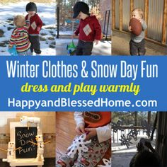 Snow Day Fun (love the marshmallow snowmen - bottom left!)| HappyandBlessedHome.com