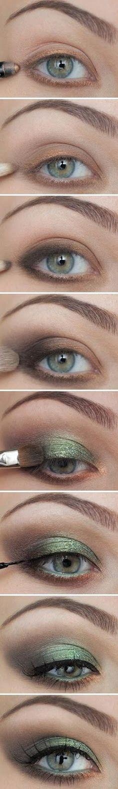 Beautiful emerald green eye make up