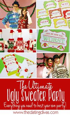 'Tis the season to be tacky! We've got EVERYTHING you need to throw The Ultimate Ugly Sweater Party this Christmas. Packed with ugly sweater ideas and more! Christmas Party Games, Xmas Party, Holiday Parties, Party Party, Christmas Party Ideas For Adults, Winter Parties, Party Dress, All Things Christmas, Christmas Fun