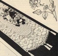 Free Crochet Rose Filet Runner Pattern - I am going to adapt to kitchen window curtains?