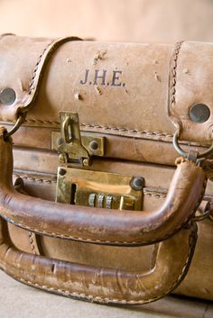 Beige Vintage Tan Belting Leather Suitcase From http://www.etsy.com/listing/80875189/reserved-vintage-tan-belting-leather